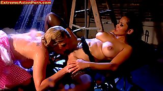 Wet lesbian fun with sexy asian babe